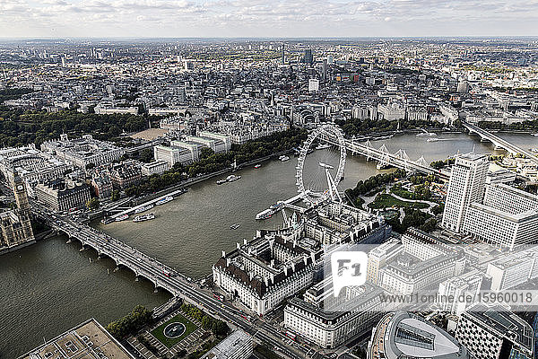 Aerial view of the London Eye  London Bridge and River Thames in London