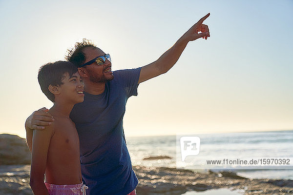 Neugieriger Vater und Sohn zeigen am sonnigen Meeresstrand in den Himmel