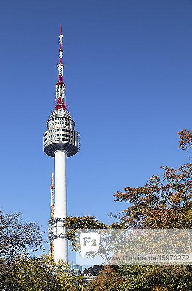 Turm von Seoul im Namsan Park  Seoul  Südkorea  Asien