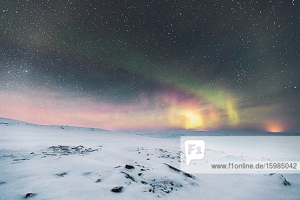 Starry sky with northern lights  Lebesby  Norway