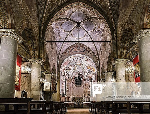 Nave and choir with scenes from the life of Mary  frescoes by Masolino da Panicale  1435  Gothic  Collegiata dei Santi Stefano e Lorenzo  Castiglione Olona  Province of Varese  Lombardy  Italy  Europe