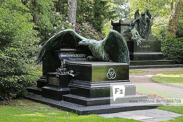 Grave of Friedrich Alfred Krupp  family cemetery of the Krupp industrialist family  Bredeney cemetery  Essen  Ruhr area  North Rhine-Westphalia  Germany  Europe