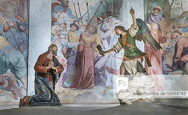 Terrakottafiguren  Jesu Gebet auf dem Ölberg  Kapelle VI  Wallfahrtsweg Sacro Monte di Varese  Barock  UNESCO Weltkulturerbe  Varese  Lombardei  Italien  Europa
