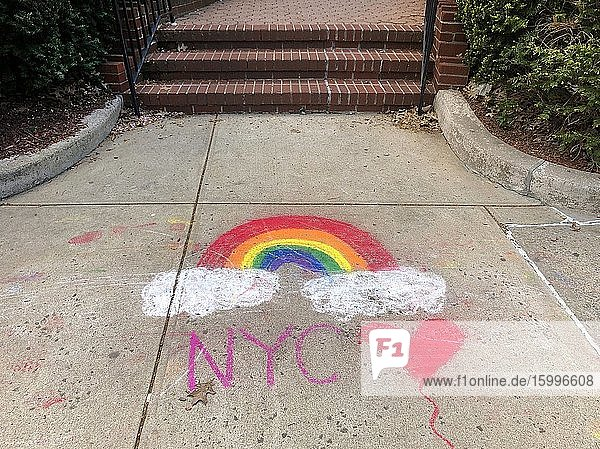 Rainbow Campaign chalk drawing on sidewalk  Forest Hills  Queens  NY.