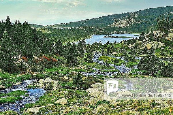 The Catalan Pyrenees Regional Natural Park in the French Pyrenees. Angoustrine-Villeneuve-des-Escaldes town  Pyr?n?es-Orientales department  France