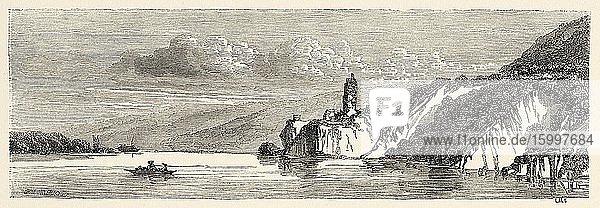Danube river near Hainburg  Nieder Sterreich  Lower Austria Europe. Old 19th century engraved illustration  Le Tour du Monde 1863.