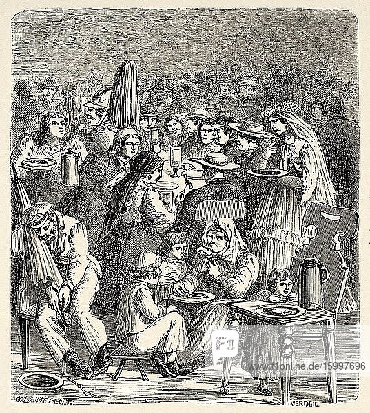 Spitalbrauerei the oldest brewery in Regensburg  Bavaria  Germany Europe. Old 19th century engraved illustration  Le Tour du Monde 1863.
