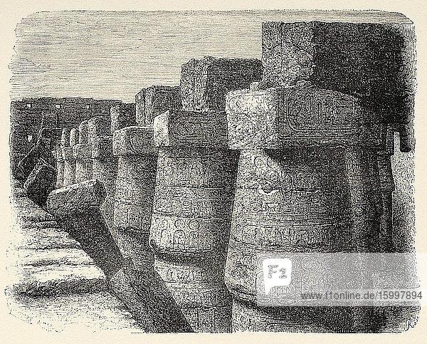 External wall of Karnak temple  Egypt  Africa. Old 19th century engraved illustration  Le Tour du Monde 1863.