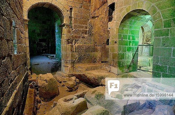 Interior of the monastery of San Pedro de Rocas  Esgos  Orense  Spain.