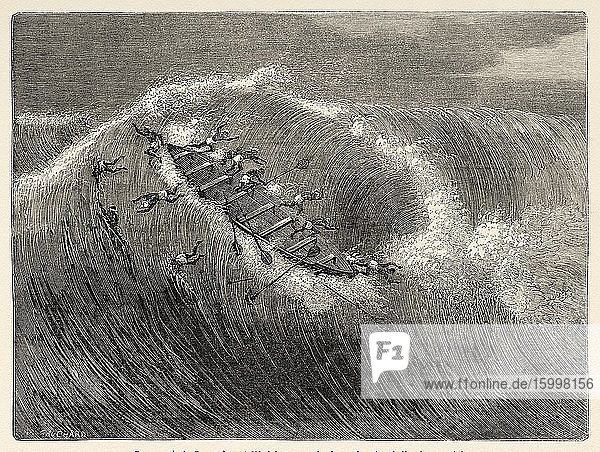 Boats passing the waves of the sea  rib bar from in front of Whydah  Gulf of Benin  Dahomey Guinea. Central Africa  Old 19th century engraved illustration  Le Tour du Monde 1863.