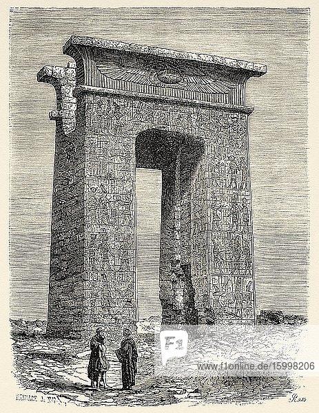 North propylon of Karnak  Egypt  Africa. Old 19th century engraved illustration  Le Tour du Monde 1863.