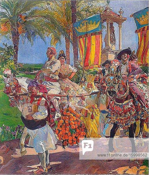 Joaqu?n Sorolla Y Bastida - ValenciaCouples Horseback 1916.