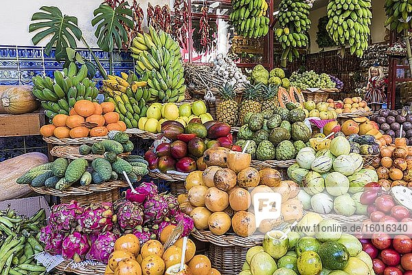 Exotic fruits  fruit and vegetable market  market hall  Mercado dos Lavradores  Funchal  Madeira Island  Portugal  Europe
