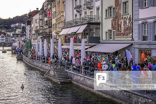 Celebrations in the Old Town  Rosenmontag  Güdismäntig  Lucerne Carnival  Lucerne  Switzerland  Europe