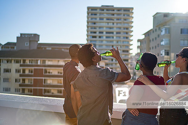 Young friends drinking beer on sunny urban rooftop