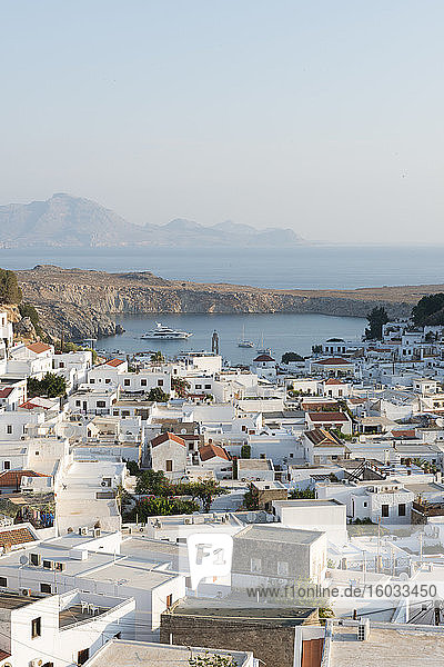 View over Lindos town  Rhodes  Dodecanese  Greek Islands  Greece  Europe