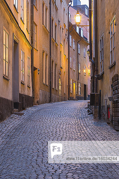 View along an empty Gamla Stan  Stockholm  Sweden during the Corona virus crisis.