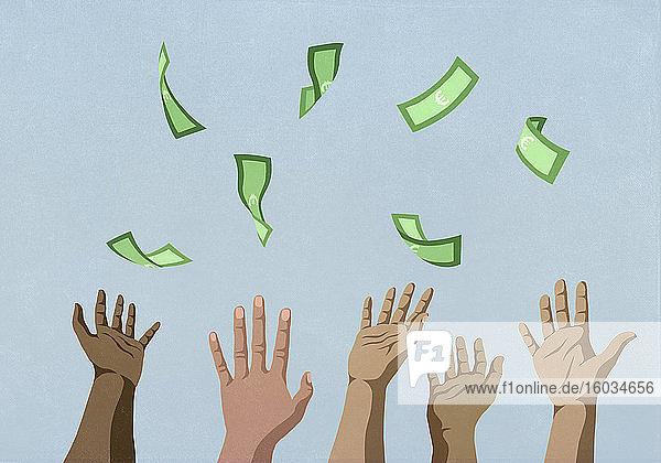 Hände  die nach fallendem Geld greifen