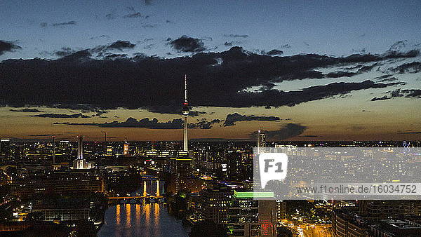 Berlin cityscape and Television Tower illuminated at night  Germany