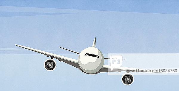 Flugzeug am Himmel fliegend
