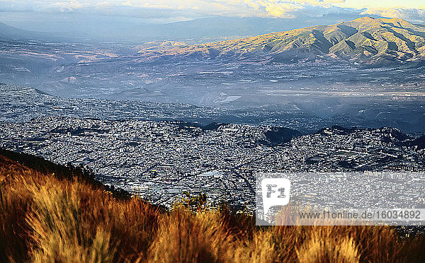 Aerial view Quito cityscape and mountains  Ecuador