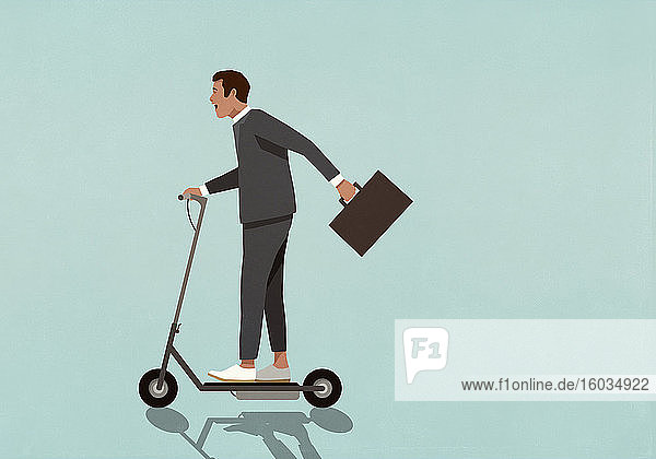 Carefree businessman with briefcase riding motorized scooter