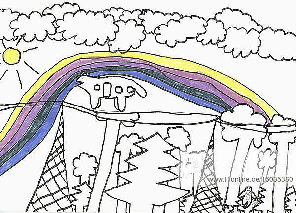 Kinder zeichnen Regenbogen und Bäume