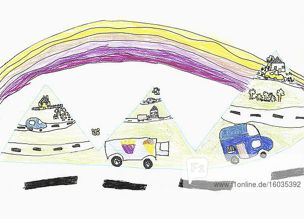 Childs drawing cars and trucks on road below rainbow