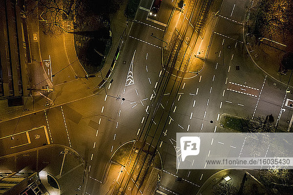 Aerial view empty city streets at night during COVID-19  Stuttgart  Germany