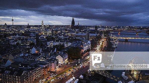 Cologne cityscape illuminated at night  Germany