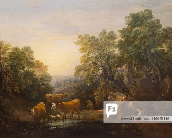 Rocky Wooded Landscape with Rustic Lovers  Herdsmen and Cows  Thomas Gainsborough  1773-1774 .