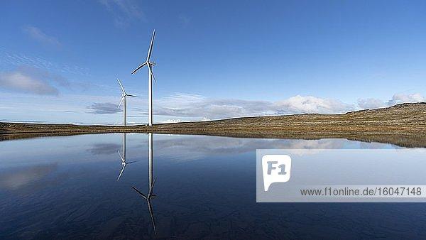 Der nördlichste Windpark der Welt auf der Insel Havoya  Finnmark  Norwegen  Europa