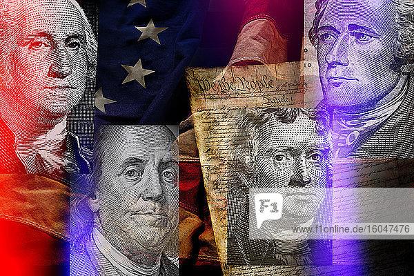 Amerikanische Präsidenten gegen amerikanische Flagge