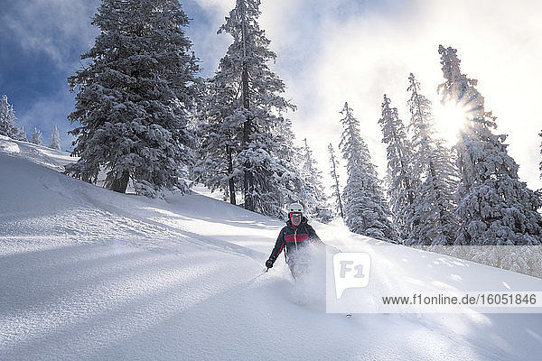 Senior man during ski tour  Inzell  Kienberg  Germany