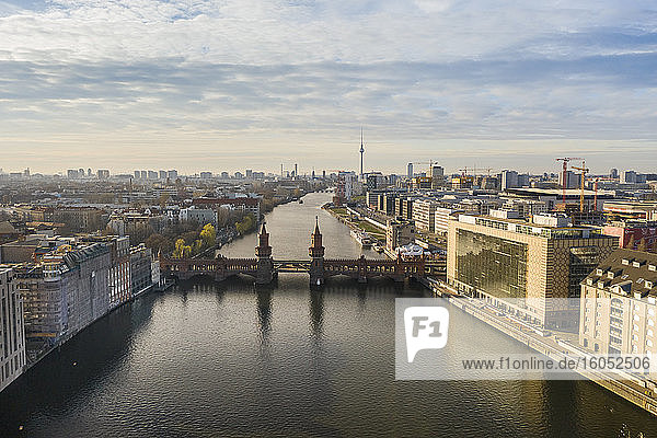 Germany  Berlin  Aerial view ofOberbaumBridge and river Spree canal