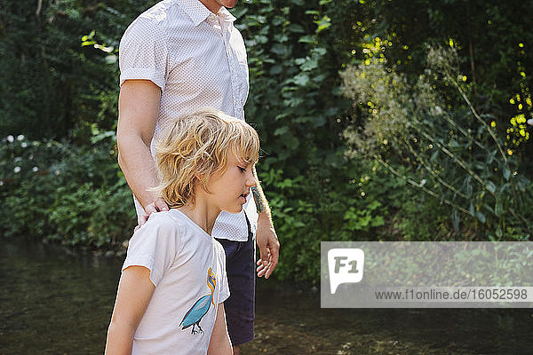 Father and son walking in stream during sunny day at forest