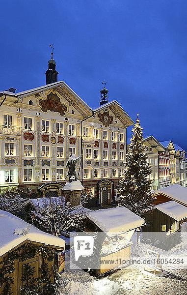 Germany  Bavaria  Bad Tolz  Christmas market at dusk