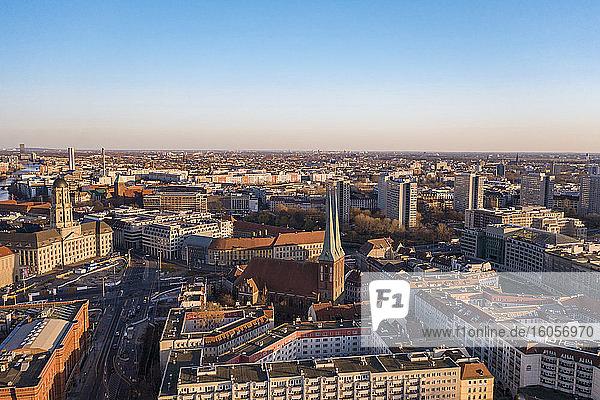 Germany  Berlin  Aerial view of Saint Nicholas Church and surrounding buildings ofNikolaiviertelquarter