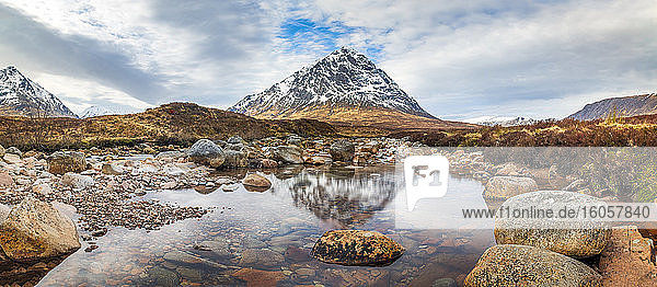 UK  Scotland  Panorama of River Coupall with Buachaille Etive Mor mountain in background