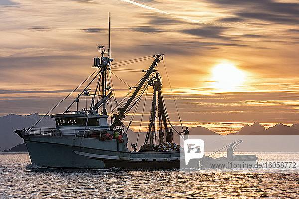 Wadenfisch ankerte bei Sonnenuntergang im Hafen von Amalga in Erwartung einer kommerziellen Lachseröffnung  nahe Juneau  Südost-Alaska; Alaska  Vereinigte Staaten von Amerika