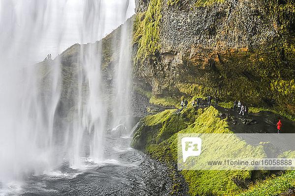 Der Seljalandsfoss ist einer der bekanntesten Wasserfälle in Island. Ein Pfad führt Sie hinter den Wasserfall; Rangarthing eystra  Südliche Region  Island