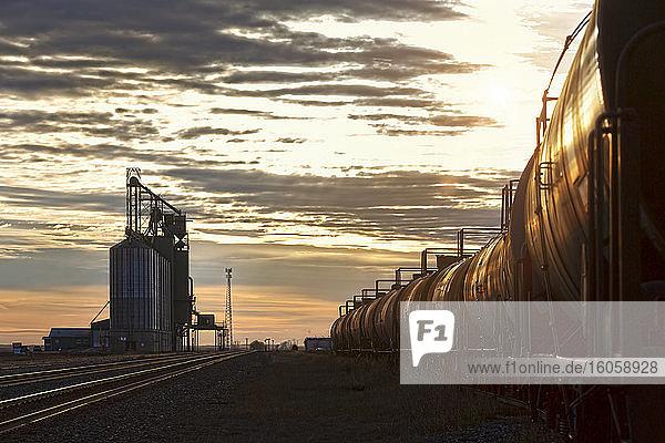 Tank cars on a train beside a grain storage facility at dusk; Alberta  Canada