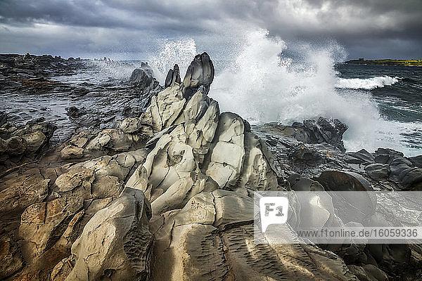 Waves crashing and splashing along the rugged rock on the coast of Maui; Kihei  Maui  Hawaii  United States of America