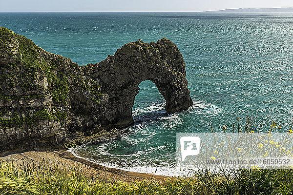 Durdle Door  a natural arch along the coast; Dorset  England
