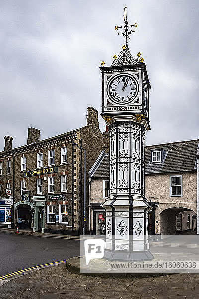 A clock built in 1878 and located in the centre of Downham Market; Norfolk  England