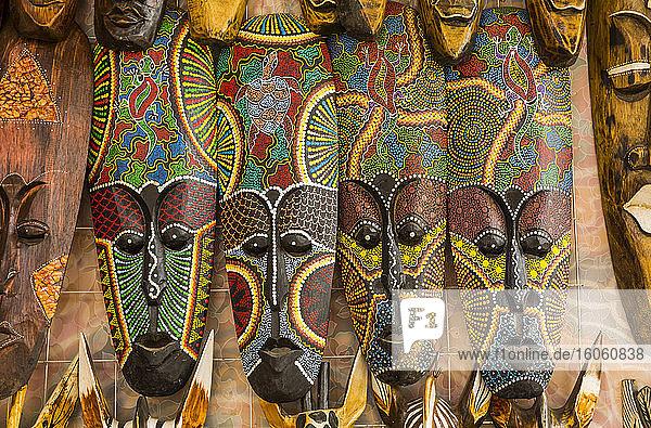 Colourful handpainted masks on display  Nagaa Suhayi Gharb  Nubian Village; Nagaa Suhayi Gharb  Aswan  Egypt