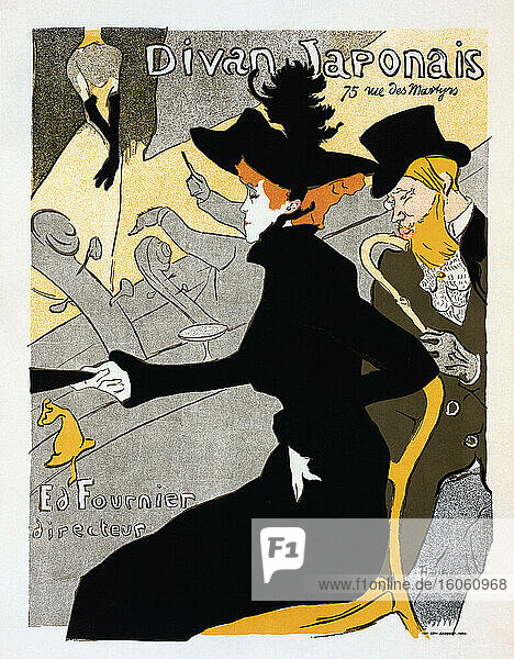 Divan Japonais. Poster  dated circa 1893-1894 by French artist Henri de Toulouse-Lautrec  1864-1901. The poster was designed as an advertisement for the Divan Japonais  a Parisian café-chantant (singing cafe). In the picture  dancer Jane Avril and author Edouard Dujardin are watching a performance by Yvette Guilbert.
