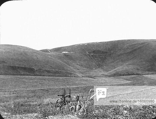 Laterna Magica-Dia um 1880.viktorianisch/ewardianisch.Sozialgeschichte. Diasatz: Weißes Pferd Hügel Berkshire