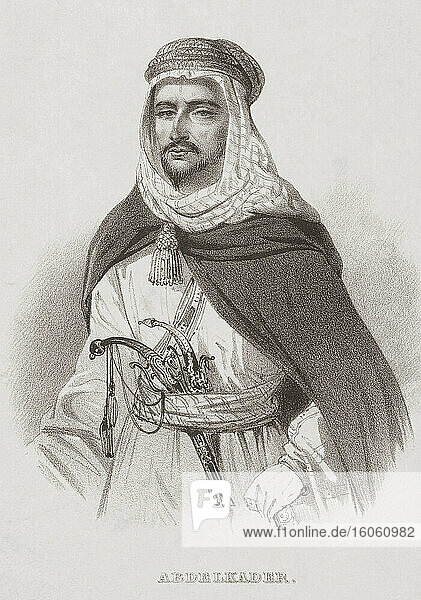 Abdelkader ibn Muhieddine  1808 – 1883. Also known as Emir Abdelkader  Abdelkader El Djezairi and Abd al-Qadir. Algerian leader who led struggle against 19th century French colonial invasion. After a 19th century work by an unknown artist.
