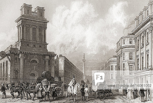 King William Street and St Mary Woolnoth  London  England  19th century. From The History of London: Illustrated by Views in London and Westminster  published c.1838.